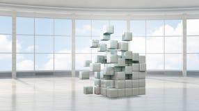Figura del cubo nell'interno elegante fotografia stock libera da diritti