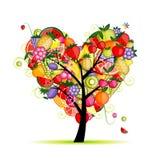 Figura del cuore dell'albero da frutto di energia per il vostro disegno illustrazione di stock