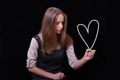 Figura del cuore dell'illustrazione della giovane donna Fotografia Stock Libera da Diritti