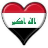 Figura del cuore della bandierina del tasto dell'Iraq Immagini Stock Libere da Diritti