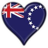 Figura del cuore della bandierina del tasto delle Isole Cook Fotografia Stock