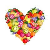 Figura del cuore della frutta di energia illustrazione vettoriale