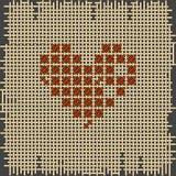 Figura del cuore Punto croce, ricamo canvas royalty illustrazione gratis
