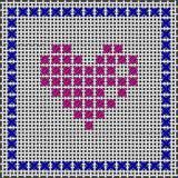 Figura del cuore Punto croce, ricamo canvas illustrazione di stock