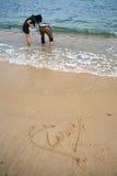 Figura del cuore sulla spiaggia Fotografia Stock