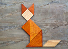 Figura del gatto - estratto del tangram Immagini Stock Libere da Diritti