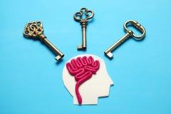 Figura del hombre y de tres llaves Problemas y solución de negocio imagen de archivo libre de regalías