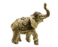 Figura del oro del elefante en un blanco fotos de archivo libres de regalías