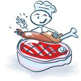 Figura del palillo como cocinero con la carne Fotografía de archivo libre de regalías