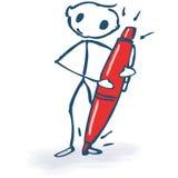 Figura del palillo con el lápiz rojo Imágenes de archivo libres de regalías