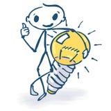 Figura del palillo con ideas y la bombilla ilustración del vector