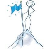 Figura del palillo con la bandera en un top de la montaña libre illustration
