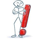 Figura del palillo con la marca de exclamación ilustración del vector