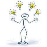 Figura del palillo con las bombillas de ideas Imagen de archivo
