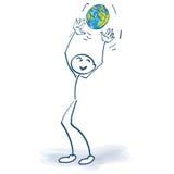 Figura del palillo con un globo ilustración del vector