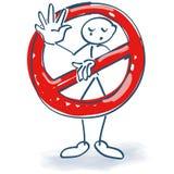 Figura del palillo con una prohibición Imagen de archivo libre de regalías