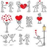 Figura del palillo de Stickman en beso del corazón de los pares del amor ilustración del vector