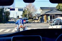 Figura del poliziotto, a Kagoshima, il Giappone immagine stock