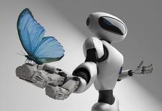 Figura del robot e butterfliy su un fondo bianco Fotografia Stock