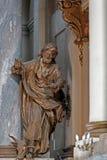 Figura dell'evangelista Luke dall'altare della chiesa dell'eucaristia della st a Leopoli, Ucraina Immagine Stock Libera da Diritti