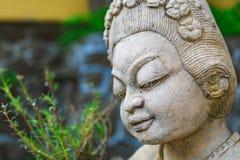 Figura della divinità asiatica da una pietra in un giardino silenzioso fotografia stock