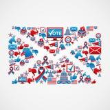 Figura della posta delle icone di elezione degli Stati Uniti illustrazione di stock
