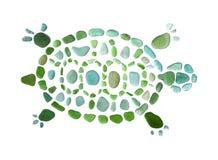 Figura della tartaruga fatta dei seaglass Fotografie Stock Libere da Diritti
