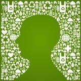 Figura della testa umana sopra la priorità bassa delle icone di eco Immagine Stock