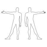 Figura descritta siluetta del modello dell'uomo di modo (parte anteriore & parte posteriore Immagine Stock Libera da Diritti