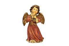 Figura di angelo di natale che gioca corno Fotografie Stock Libere da Diritti