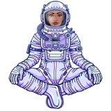 Figura di animazione dell'astronauta della donna di colore in una tuta spaziale che si siede nella posa di Buddha illustrazione vettoriale
