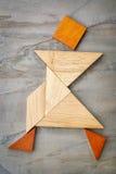Figura di camminata del tangram Fotografie Stock Libere da Diritti