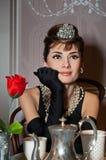 Figura di cera di Audrey Hepburn Fotografia Stock
