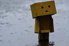 Figura di Danbo o di Danboard nella pioggia Fotografia Stock Libera da Diritti