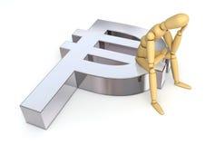 Figura di disposizione che si siede sul simbolo del peso Immagine Stock Libera da Diritti
