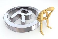 Figura di disposizione che si siede sul simbolo di marchio Immagini Stock
