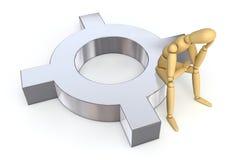 Figura di disposizione che si siede sul simbolo di valuta Fotografia Stock Libera da Diritti