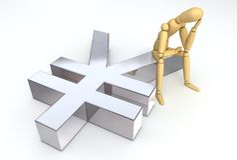 Figura di disposizione che si siede sul simbolo di Yen Immagine Stock Libera da Diritti