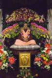 Figura di Guru Svami Prabhupada in lepre Krishna Temple fotografia stock