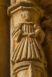 Figura di pietra di un monaco. Monastero di Sandoval. Leon. La Spagna Immagini Stock
