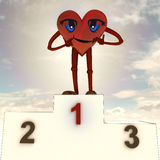 Figura di salute del cuore e cerimonia di vittoria Immagine Stock
