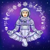 Figura di un astronauta della donna che si siede in una posa di Buddha Meditazione nello spazio Insieme delle icone illustrazione di stock