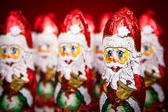 Figura do chocolate de Santa Claus Fotos de Stock Royalty Free