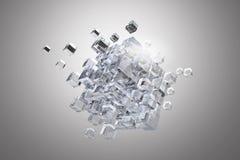 Figura do cubo da alta tecnologia Meios mistos Fotos de Stock Royalty Free