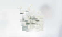 Figura do cubo da alta tecnologia Meios mistos Fotos de Stock