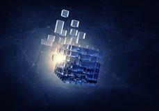 Figura do cubo da alta tecnologia Meios mistos Imagem de Stock Royalty Free