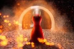 Figura do diabo na frente da porta ao inferno Com espaço da cópia imagens de stock royalty free