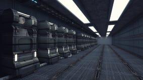 Figura do Humanoid e sala futurista Imagens de Stock Royalty Free