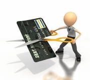 A figura do negócio corta o cartão de crédito ao meio Fotos de Stock