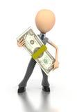 A figura do negócio prende a pilha gigante de dinheiro Fotos de Stock Royalty Free